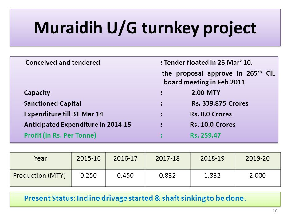 Muraidih U/G turnkey project Present Status: Incline drivage started & shaft sinking to be done. 16 Conceived and tendered : Tender floated in 26 Mar'