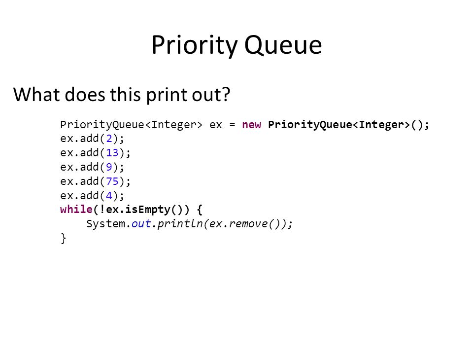 Priority Queue What does this print out.