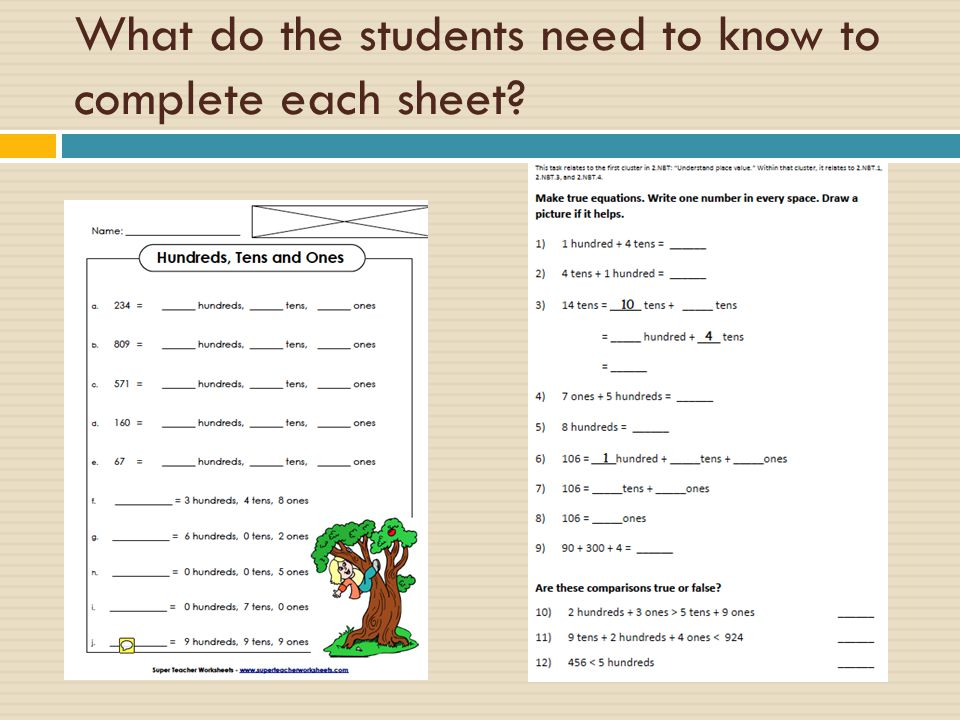 What do the students need to know to complete each sheet