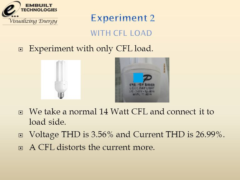  Experiment with only CFL load.  We take a normal 14 Watt CFL and connect it to load side.