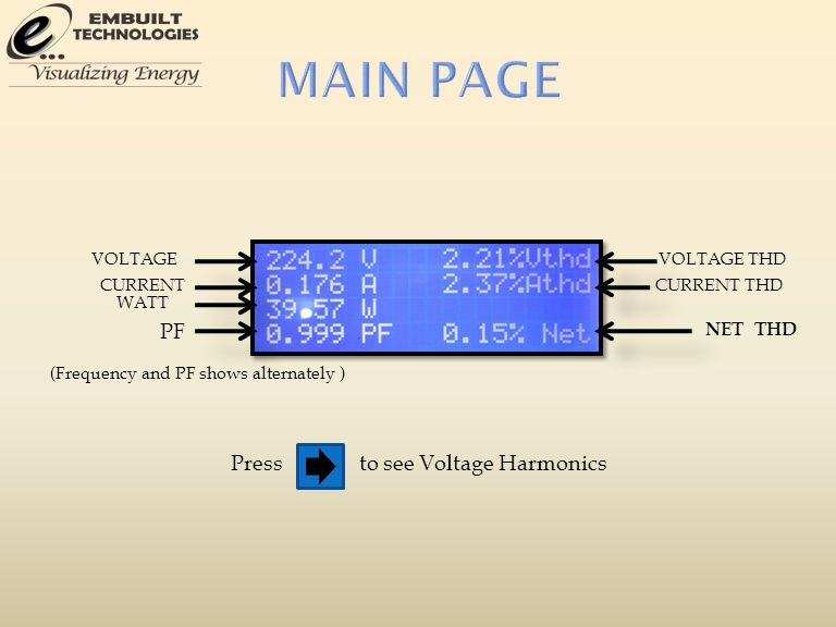 VOLTAGE CURRENT WATT PF VOLTAGE THD CURRENT THD NET THD (Frequency and PF shows alternately ) Pressto see Voltage Harmonics