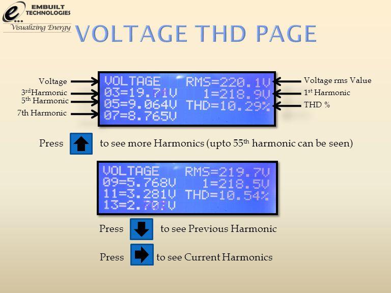 3 rd Harmonic Voltage 5 th Harmonic 7th Harmonic Voltage rms Value 1 st Harmonic THD % Pressto see more Harmonics (upto 55 th harmonic can be seen) Pr