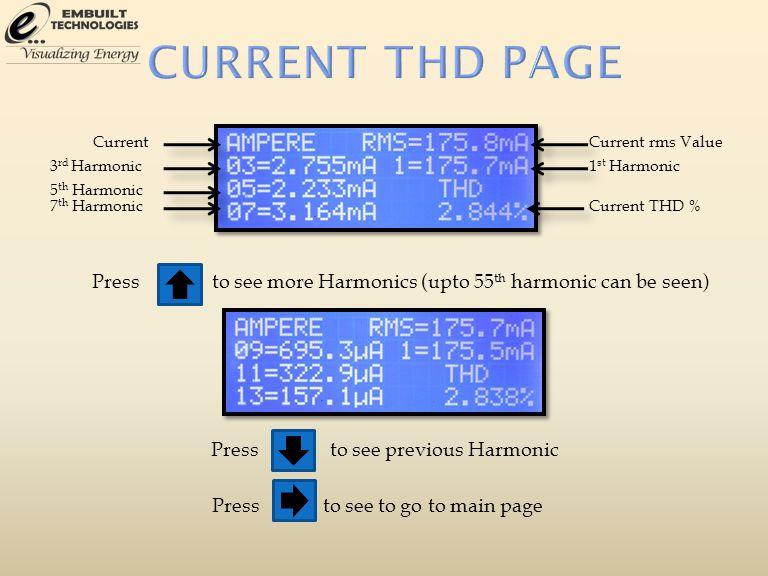 3 rd Harmonic Current 5 th Harmonic 7 th Harmonic Current rms Value 1 st Harmonic Current THD % Pressto see more Harmonics (upto 55 th harmonic can be seen) Pressto see previous Harmonic Pressto see to go to main page