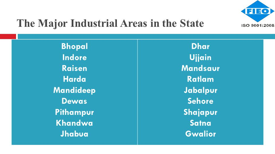 The Major Industrial Areas in the State Bhopal Indore Raisen Harda Mandideep Dewas Pithampur Khandwa Jhabua Dhar Ujjain Mandsaur Ratlam Jabalpur Sehore Shajapur Satna Gwalior