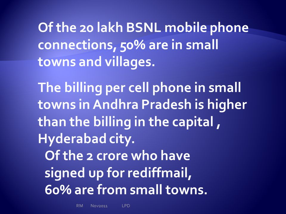 Of the 20 lakh BSNL mobile phone connections, 50% are in small towns and villages. The billing per cell phone in small towns in Andhra Pradesh is high