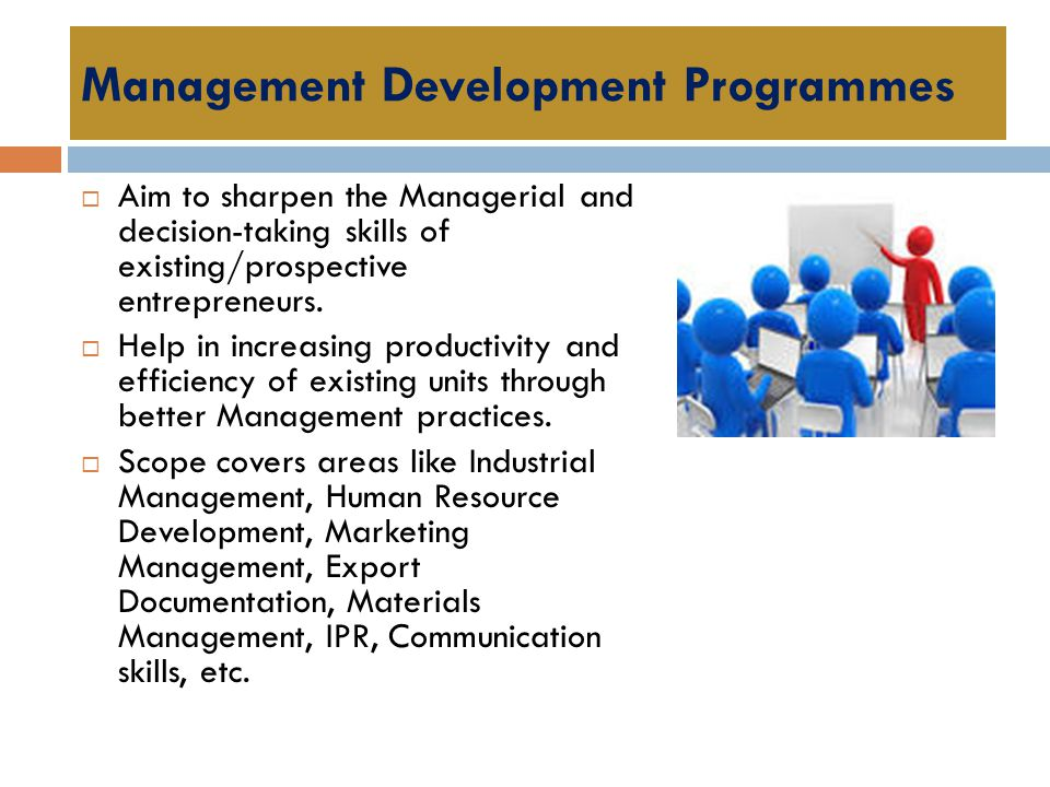 Management Development Programmes  Aim to sharpen the Managerial and decision-taking skills of existing/prospective entrepreneurs.  Help in increasi