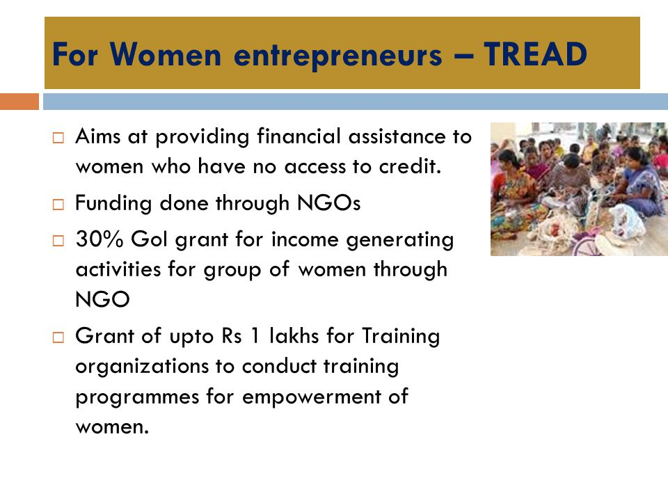 For Women entrepreneurs – TREAD  Aims at providing financial assistance to women who have no access to credit.  Funding done through NGOs  30% GoI