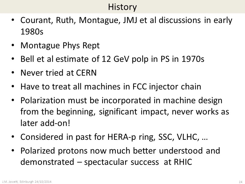 History Courant, Ruth, Montague, JMJ et al discussions in early 1980s Montague Phys Rept Bell et al estimate of 12 GeV polp in PS in 1970s Never tried