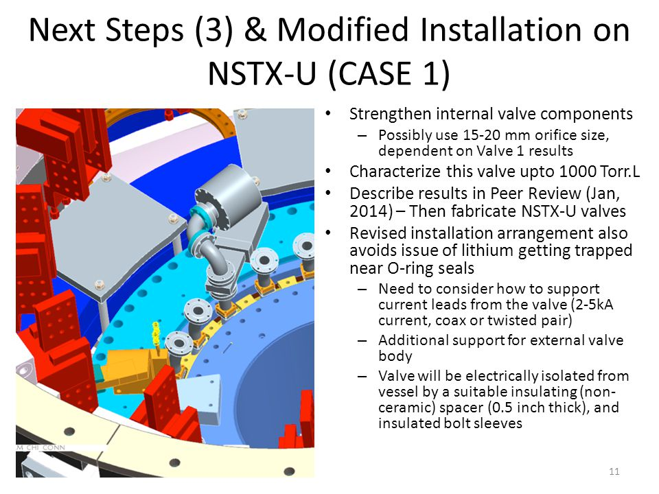 Next Steps (3) & Modified Installation on NSTX-U (CASE 1) Strengthen internal valve components – Possibly use 15-20 mm orifice size, dependent on Valve 1 results Characterize this valve upto 1000 Torr.L Describe results in Peer Review (Jan, 2014) – Then fabricate NSTX-U valves Revised installation arrangement also avoids issue of lithium getting trapped near O-ring seals – Need to consider how to support current leads from the valve (2-5kA current, coax or twisted pair) – Additional support for external valve body – Valve will be electrically isolated from vessel by a suitable insulating (non- ceramic) spacer (0.5 inch thick), and insulated bolt sleeves 11