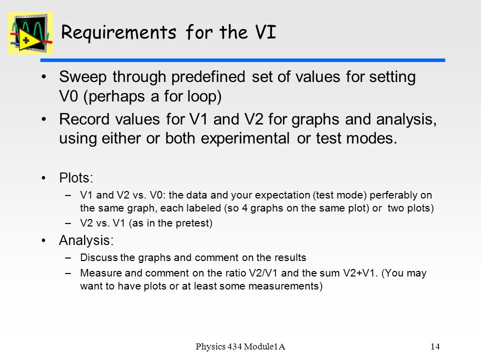 Requirements for the VI Sweep through predefined set of values for setting V0 (perhaps a for loop) Record values for V1 and V2 for graphs and analysis, using either or both experimental or test modes.