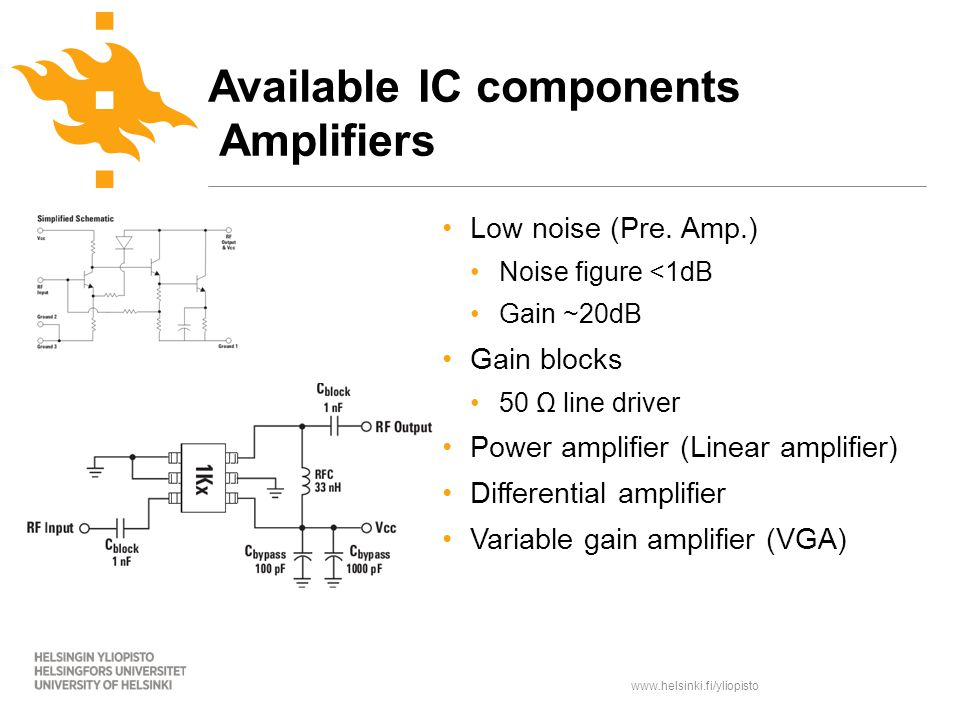 www.helsinki.fi/yliopisto Available IC components Amplifiers Low noise (Pre.