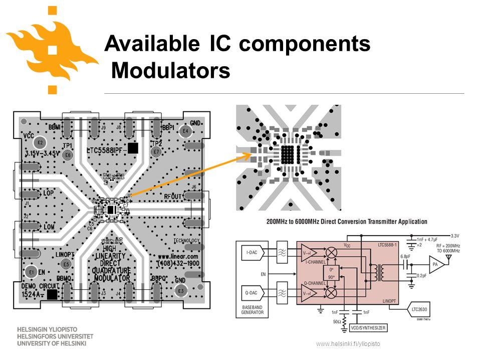 www.helsinki.fi/yliopisto Available IC components Modulators