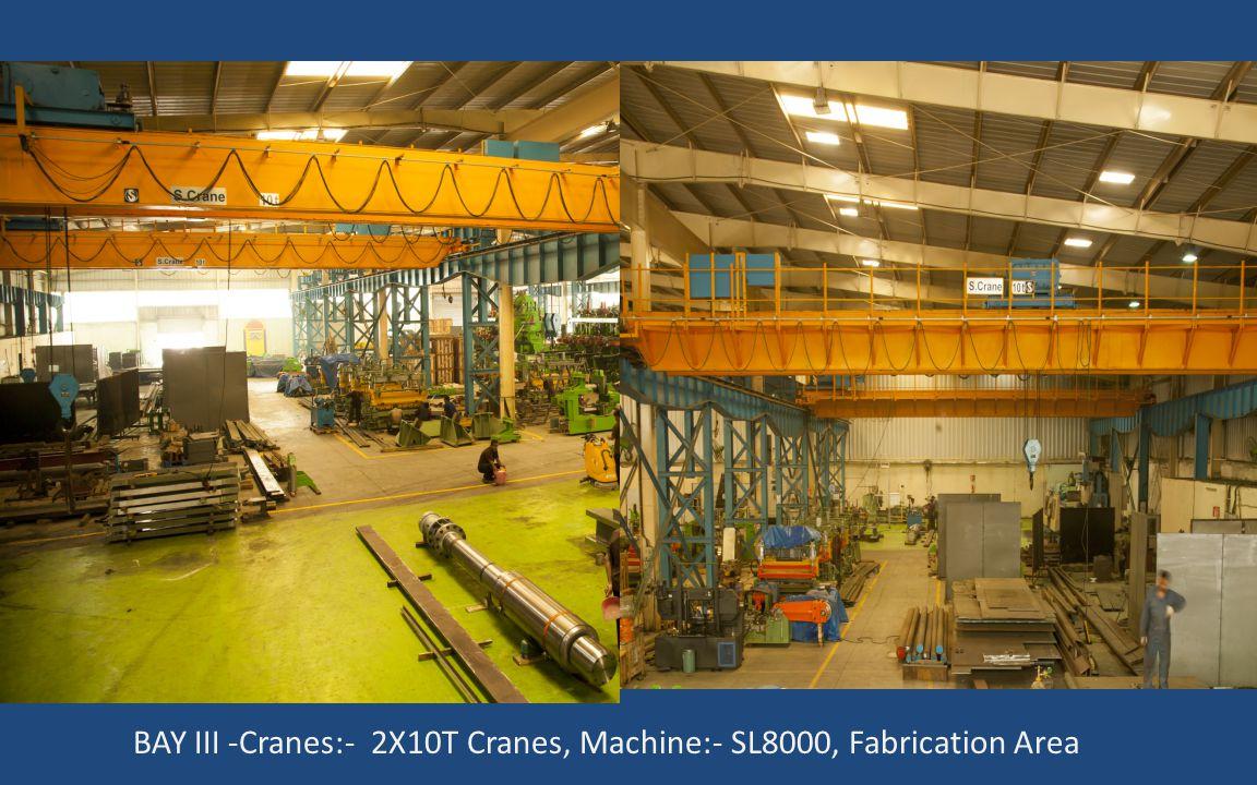 BAY III -Cranes:- 2X10T Cranes, Machine:- SL8000, Fabrication Area
