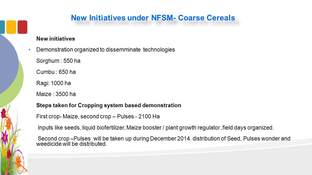 New Initiatives under NFSM- Coarse Cereals New initiatives Demonstration organized to dissemminate technologies Sorghum : 550 ha Cumbu : 650 ha Ragi: