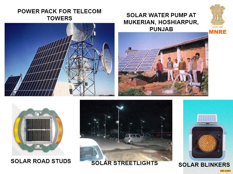 POWER PACK FOR TELECOM TOWERS SOLAR WATER PUMP AT MUKERIAN, HOSHIARPUR, PUNJAB SOLAR BLINKERS SOLAR ROAD STUDS SOLAR STREETLIGHTS