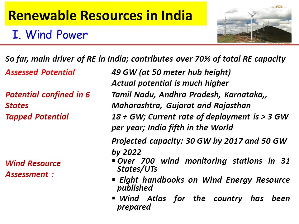 So far, main driver of RE in India; contributes over 70% of total RE capacity Assessed Potential49 GW (at 50 meter hub height) Actual potential is much higher Potential confined in 6 States Tamil Nadu, Andhra Pradesh, Karnataka,, Maharashtra, Gujarat and Rajasthan Tapped Potential18 + GW; Current rate of deployment is > 3 GW per year; India fifth in the World Projected capacity: 30 GW by 2017 and 50 GW by 2022 Wind Resource Assessment :  Over 700 wind monitoring stations in 31 States/UTs  Eight handbooks on Wind Energy Resource published  Wind Atlas for the country has been prepared I.