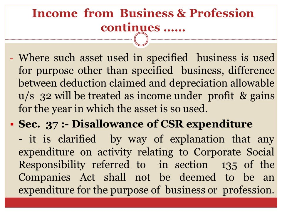 Income from Business & Profession continues …… Sec.