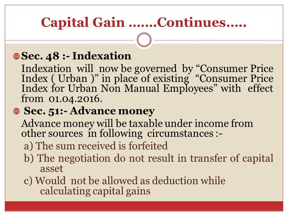 Capital Gain …….Continues…..  Sec.