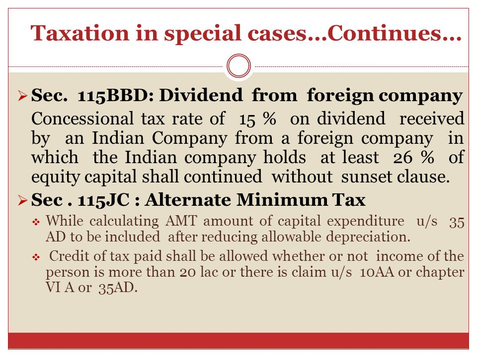 Taxation in special cases…Continues…  Sec.