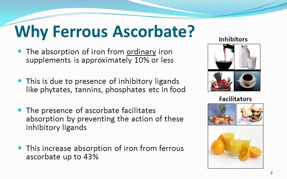 Why Ferrous Ascorbate? The absorption of iron from ordinary iron supplements is approximately 10% or less This is due to presence of inhibitory ligand