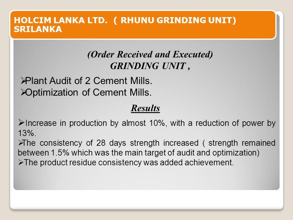 HOLCIM LANKA LTD. ( RHUNU GRINDING UNIT) SRILANKA  Plant Audit of 2 Cement Mills.