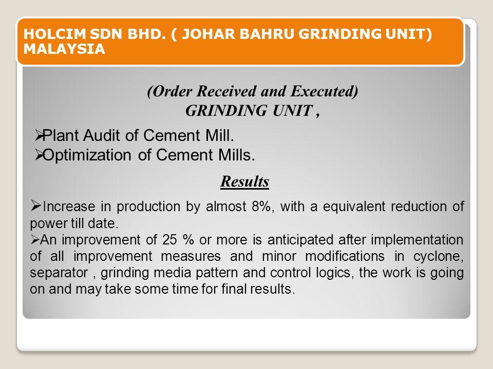 HOLCIM SDN BHD. ( JOHAR BAHRU GRINDING UNIT) MALAYSIA  Plant Audit of Cement Mill.