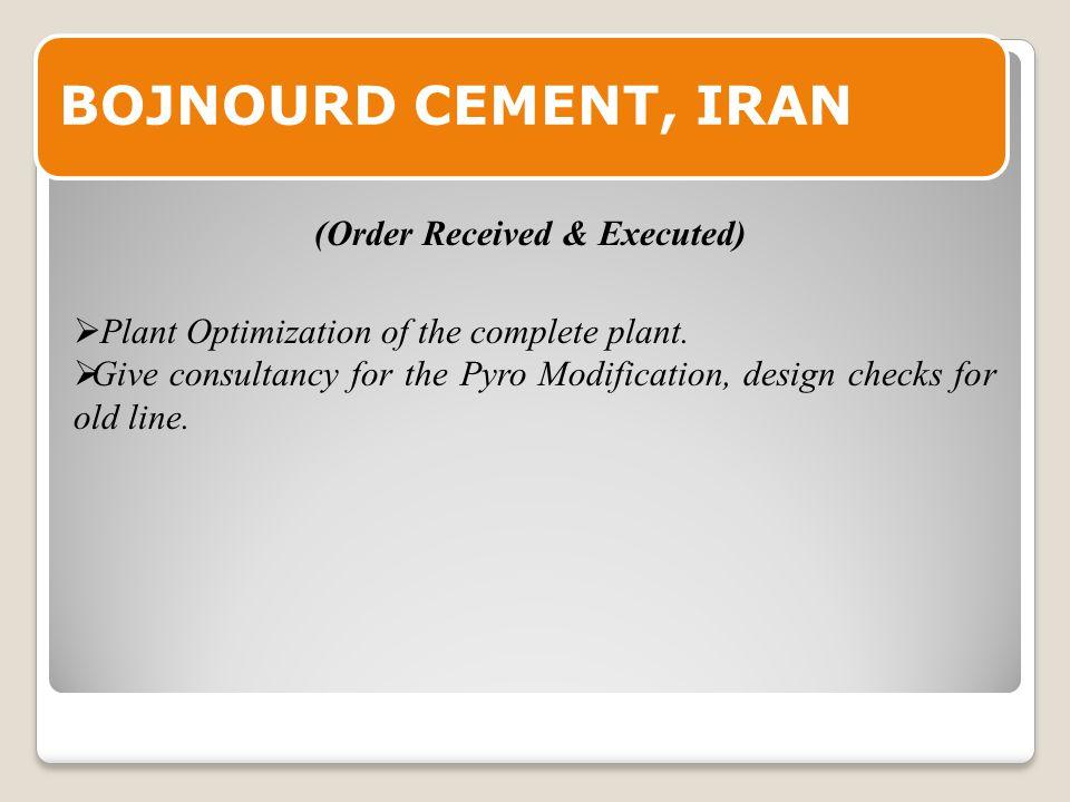 BOJNOURD CEMENT, IRAN  Plant Optimization of the complete plant.