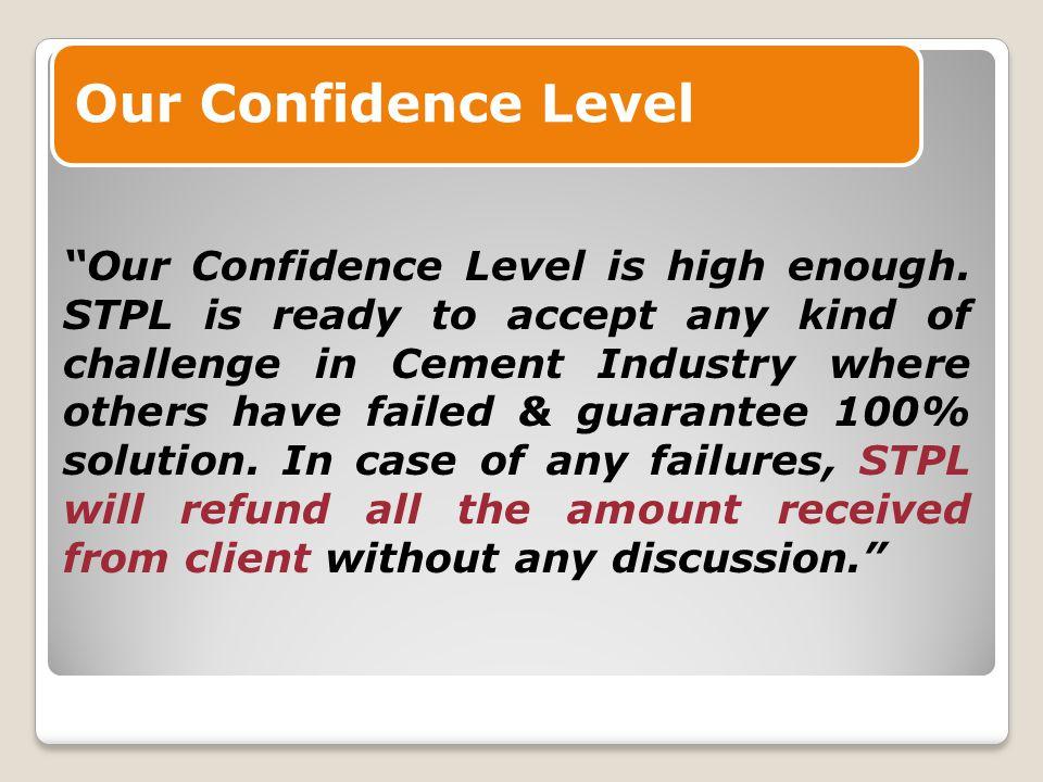Our Confidence Level Our Confidence Level is high enough.