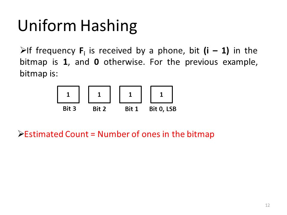 Uniform Hashing 12  If frequency F i is received by a phone, bit (i – 1) in the bitmap is 1, and 0 otherwise.