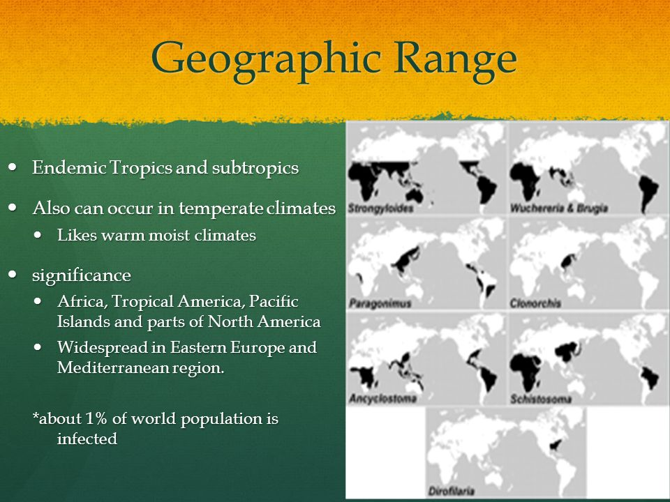 Geographic Range Endemic Tropics and subtropics Endemic Tropics and subtropics Also can occur in temperate climates Also can occur in temperate climates Likes warm moist climates Likes warm moist climates significance significance Africa, Tropical America, Pacific Islands and parts of North America Africa, Tropical America, Pacific Islands and parts of North America Widespread in Eastern Europe and Mediterranean region.