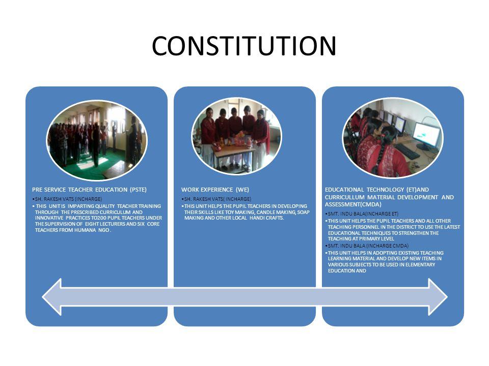 CONSTITUTION PRE SERVICE TEACHER EDUCATION (PSTE) SH.