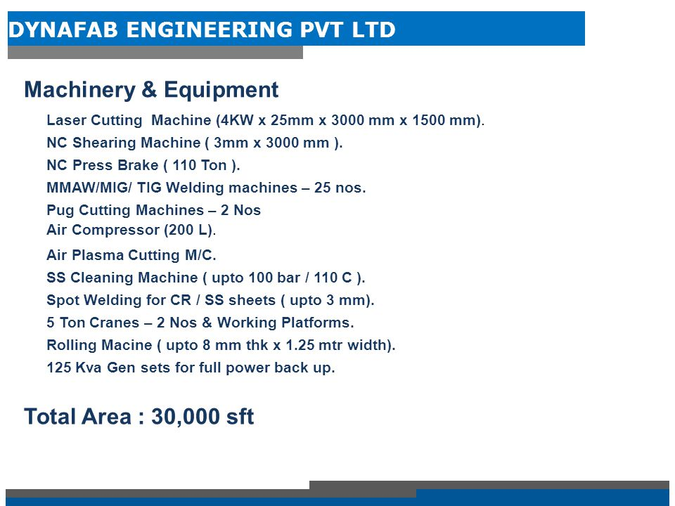 DYNAFAB ENGINEERING PVT LTD INFRASTRUCTURE – BUILT UP AREA – 20,000 SFT