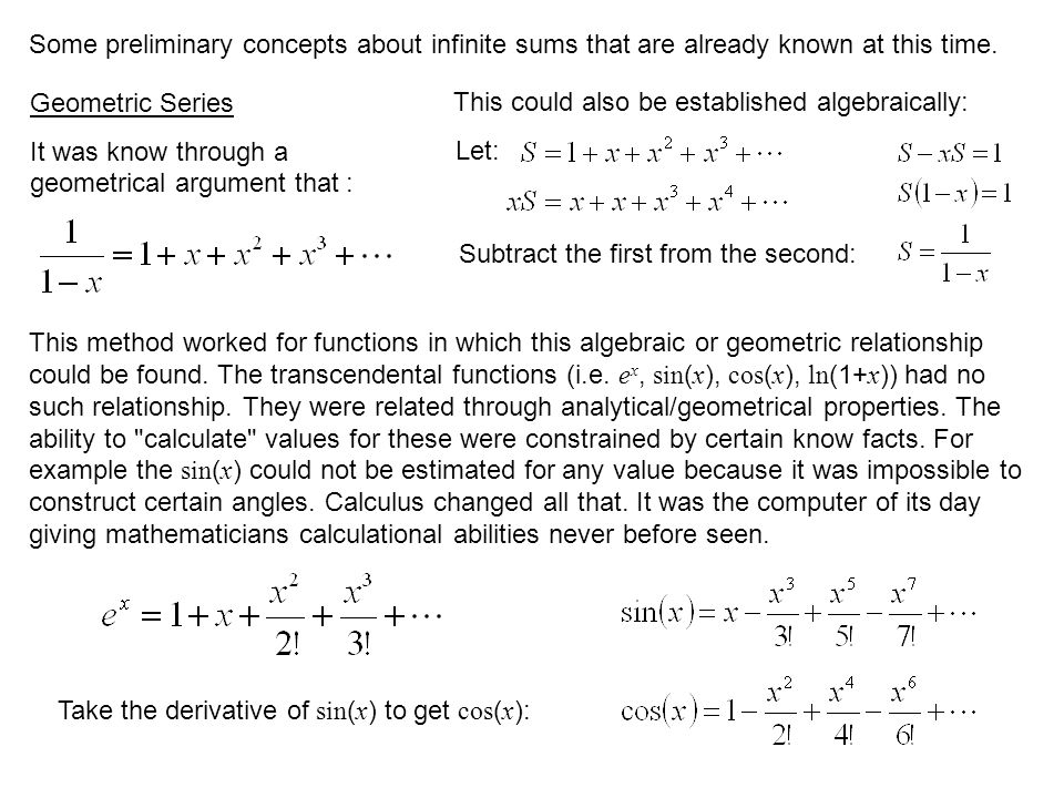 Some preliminary concepts about infinite sums that are already known at this time.