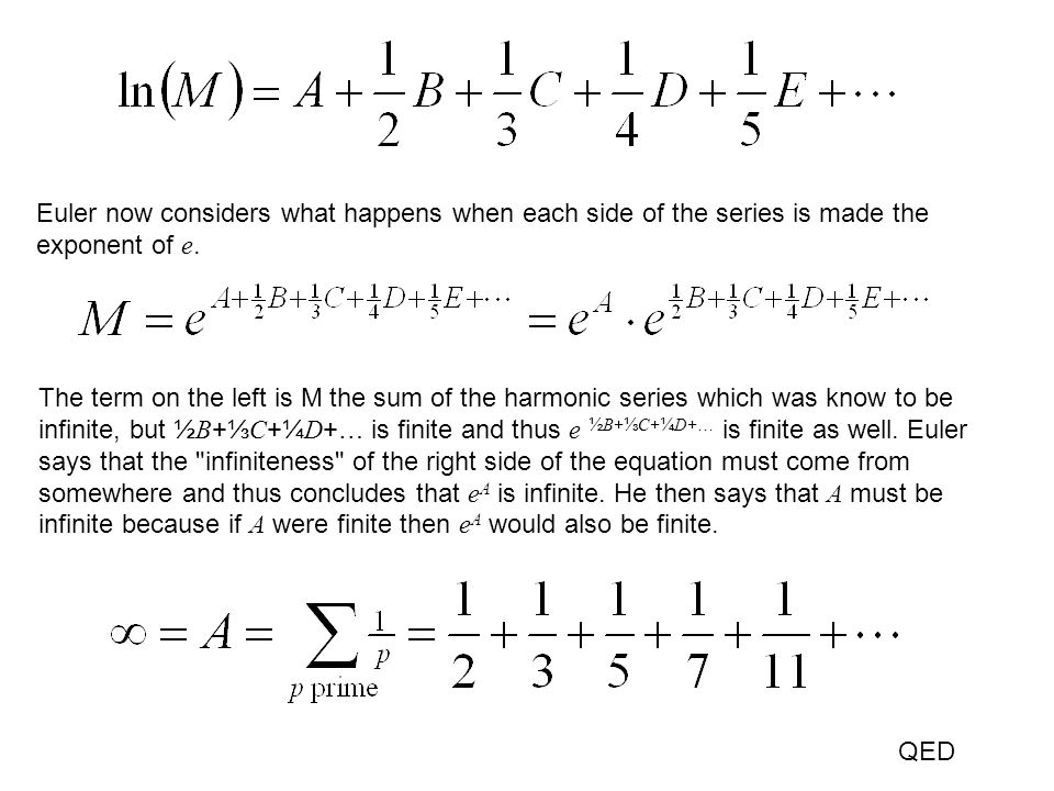 Euler now considers what happens when each side of the series is made the exponent of e.