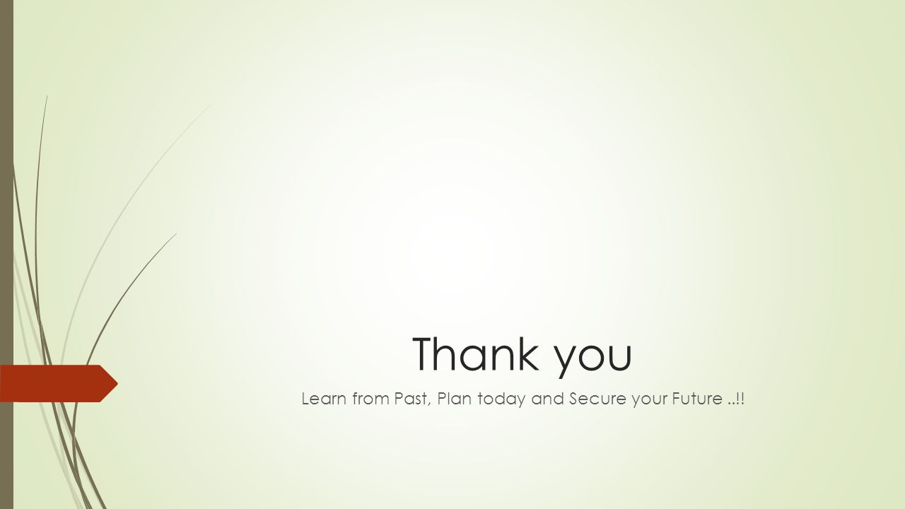 Thank you Learn from Past, Plan today and Secure your Future..!!