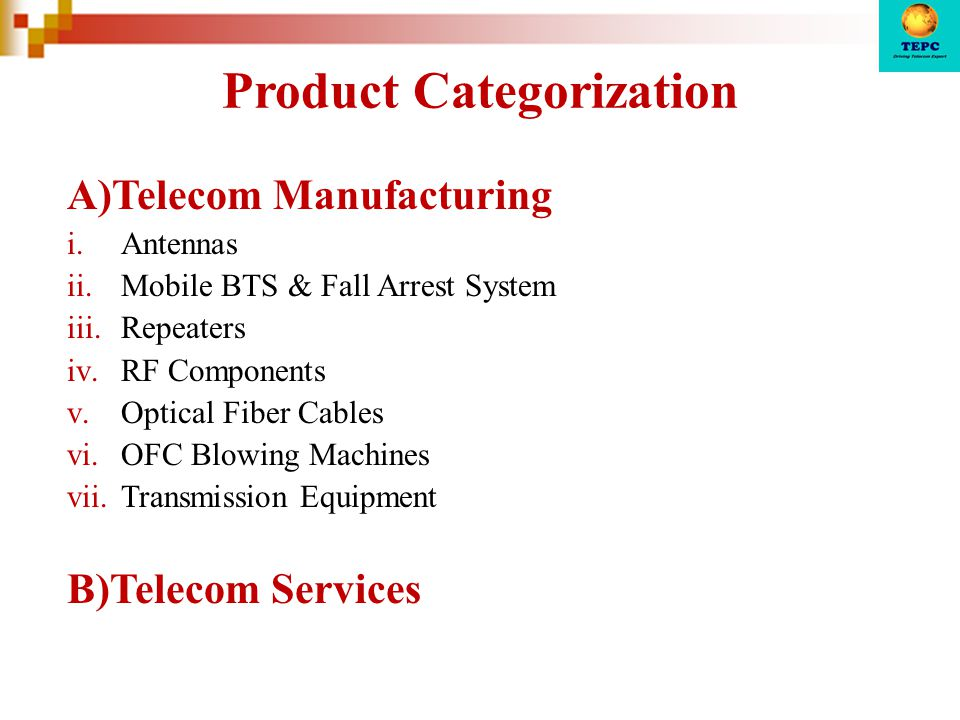Product Categorization A)Telecom Manufacturing i.Antennas ii.Mobile BTS & Fall Arrest System iii.Repeaters iv.RF Components v.Optical Fiber Cables vi.