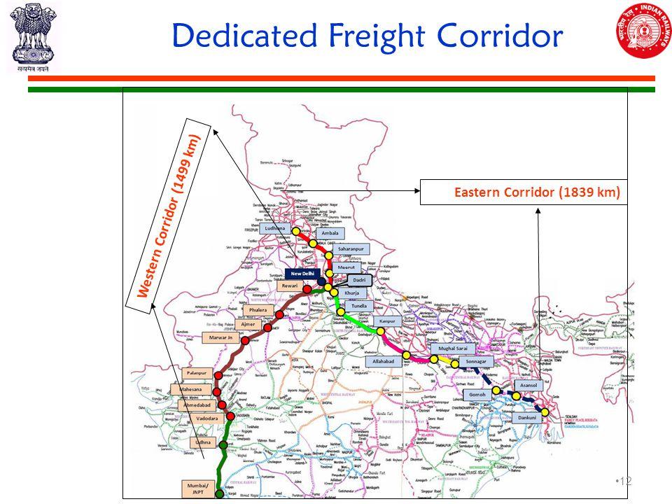 Dedicated Freight Corridor Western Corridor (1499 km) Eastern Corridor (1839 km) 12