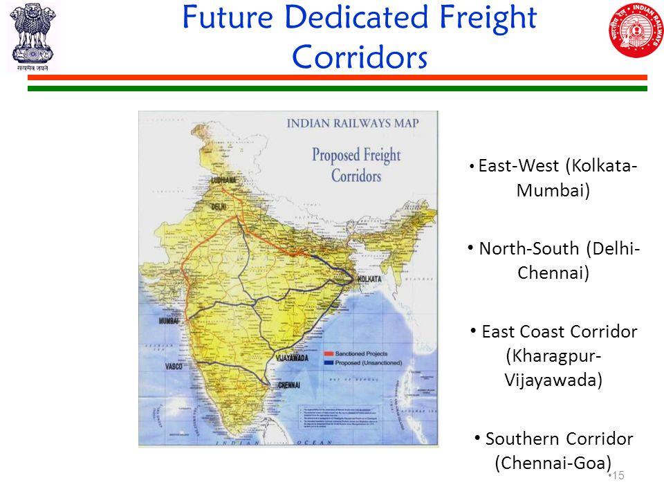 Future Dedicated Freight Corridors East-West (Kolkata- Mumbai) North-South (Delhi- Chennai) East Coast Corridor (Kharagpur- Vijayawada) Southern Corridor (Chennai-Goa) 15
