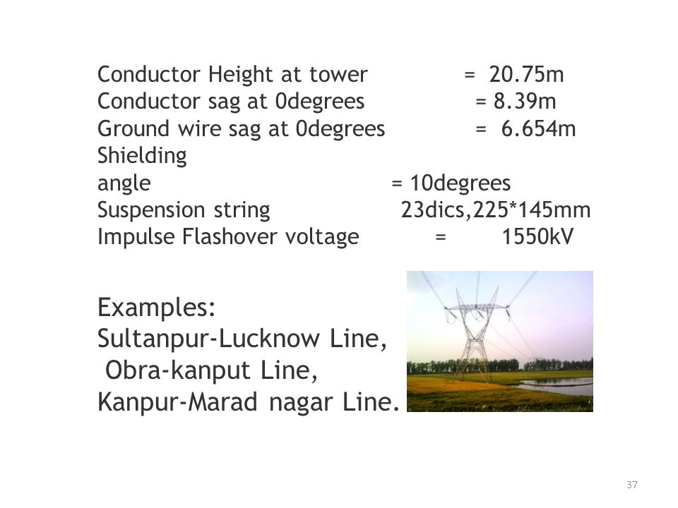 Conductor Height at tower = 20.75m Conductor sag at 0degrees = 8.39m Ground wire sag at 0degrees = 6.654m Shielding angle = 10degrees Suspension strin