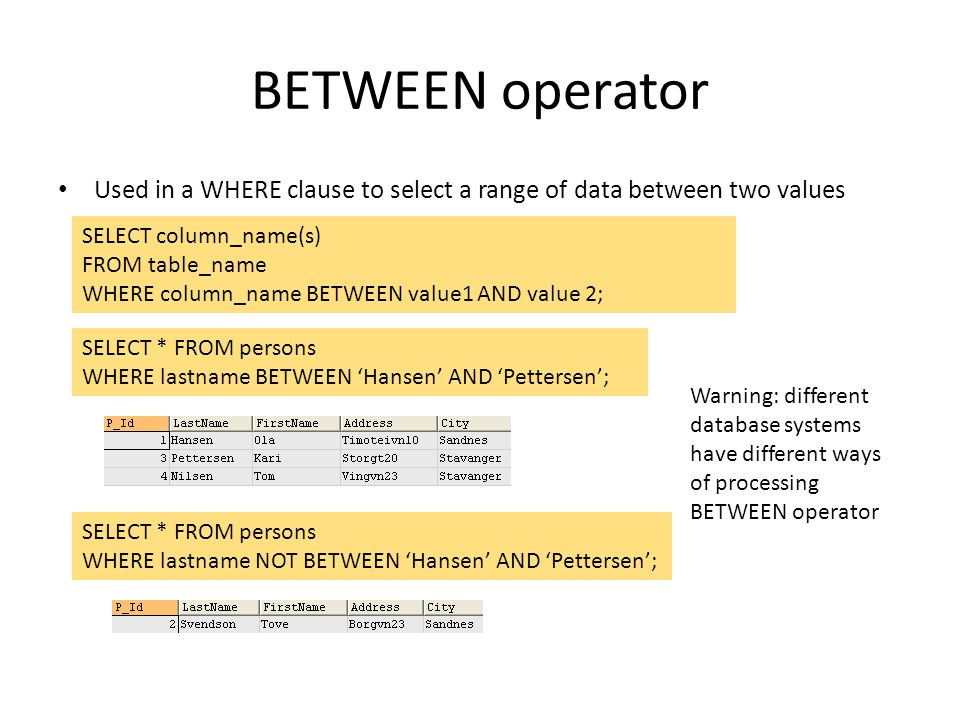 BETWEEN operator Used in a WHERE clause to select a range of data between two values SELECT column_name(s) FROM table_name WHERE column_name BETWEEN v