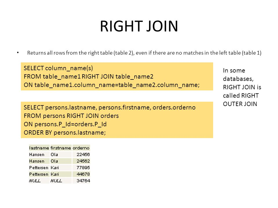 RIGHT JOIN Returns all rows from the right table (table 2), even if there are no matches in the left table (table 1) SELECT column_name(s) FROM table_