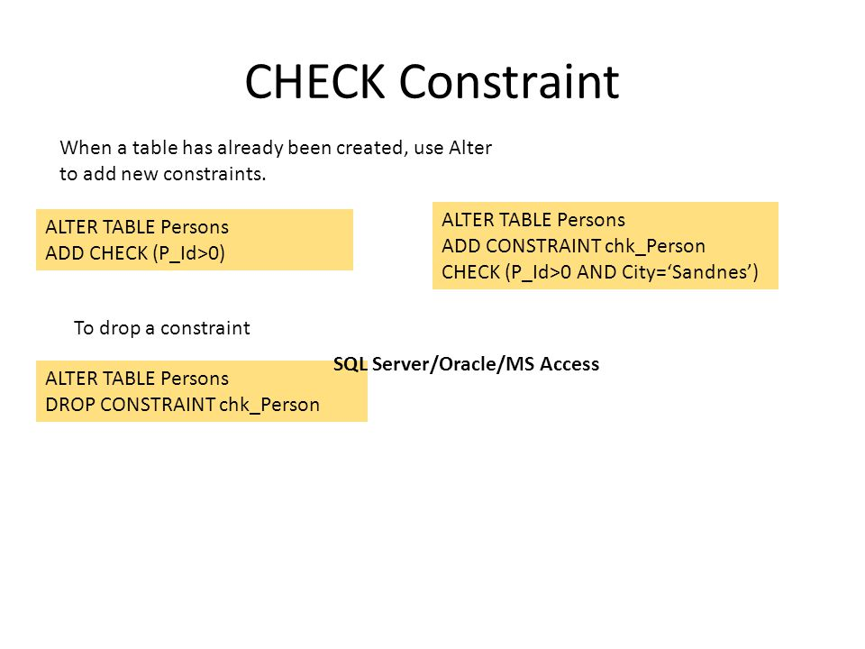CHECK Constraint ALTER TABLE Persons ADD CHECK (P_Id>0) ALTER TABLE Persons ADD CONSTRAINT chk_Person CHECK (P_Id>0 AND City='Sandnes') When a table h