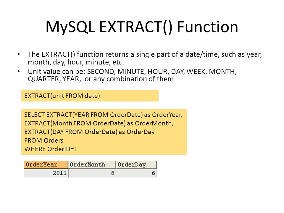 MySQL EXTRACT() Function The EXTRACT() function returns a single part of a date/time, such as year, month, day, hour, minute, etc. Unit value can be: