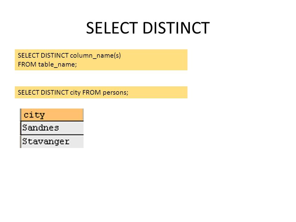 SELECT DISTINCT SELECT DISTINCT column_name(s) FROM table_name; SELECT DISTINCT city FROM persons;