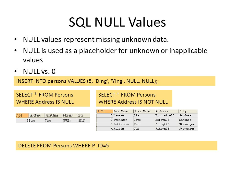 SQL NULL Values NULL values represent missing unknown data. NULL is used as a placeholder for unknown or inapplicable values NULL vs. 0 INSERT INTO pe