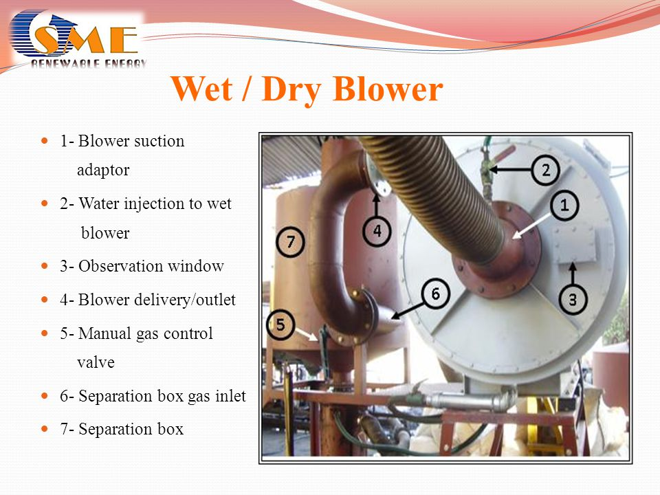 Wet / Dry Blower 1- Blower suction adaptor 2- Water injection to wet blower 3- Observation window 4- Blower delivery/outlet 5- Manual gas control valv