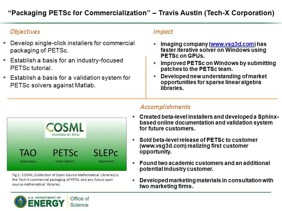 Packaging PETSc for Commercialization – Travis Austin (Tech-X Corporation)  Develop single-click installers for commercial packaging of PETSc.