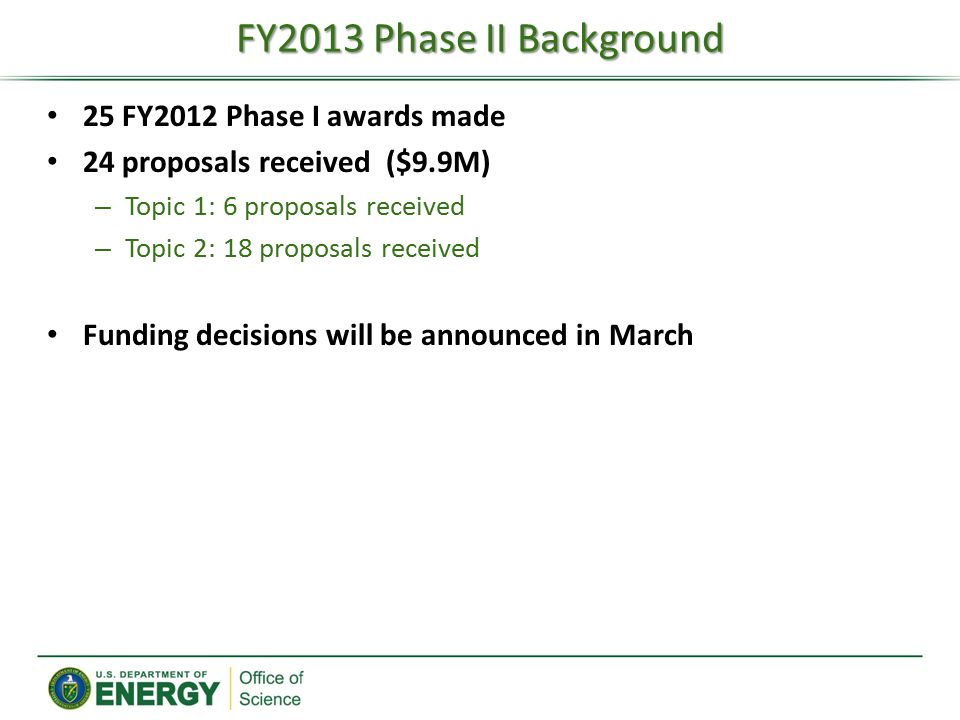 25 FY2012 Phase I awards made 24 proposals received ($9.9M) – Topic 1: 6 proposals received – Topic 2: 18 proposals received Funding decisions will be announced in March FY2013 Phase II Background