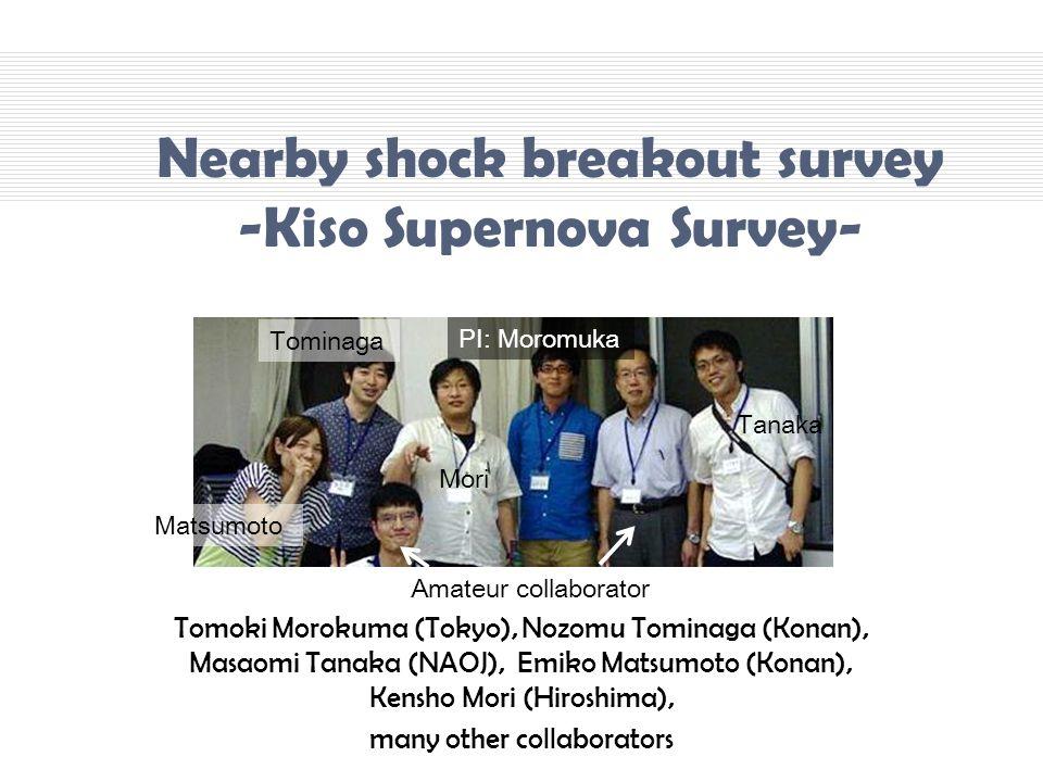 Tomoki Morokuma (Tokyo), Nozomu Tominaga (Konan), Masaomi Tanaka (NAOJ), Emiko Matsumoto (Konan), Kensho Mori (Hiroshima), many other collaborators Nearby shock breakout survey -Kiso Supernova Survey- PI: Moromuka Tominaga Mori Tanaka Matsumoto Amateur collaborator