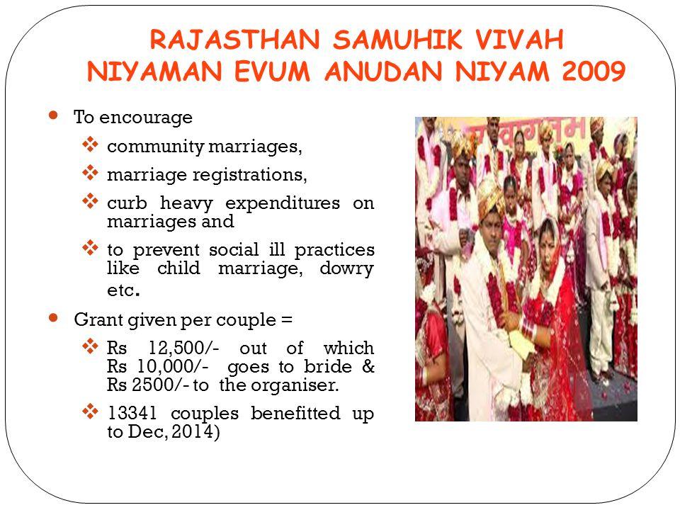 RAJASTHAN SAMUHIK VIVAH NIYAMAN EVUM ANUDAN NIYAM 2009 To encourage  community marriages,  marriage registrations,  curb heavy expenditures on marr